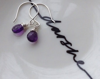 Amethyst Earrings, Amethyst Drop Earrings, Amethyst  Dangle Earrings, Purple Earrings, February Birthstone, Gift for Her,