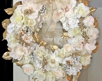 Wedding Wreath for Door, Cream Wedding Wreath, Gold Wedding Wreath, Wedding Wreaths for Front Door, Bridal Wreaths, Wedding Wreaths