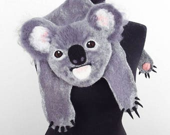 Koala Scarf Koala Stole Animal Scarf Koala Collar Felted Scarf Bear Scarf Nunofelt Scarves Felt Wrap wearable art