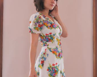 60's Folk Flower Dress