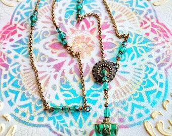 Pendulum Necklace, Lariat Necklace, Adjustable Necklace, Handmade Necklace, Resin Necklace, Bohemian Jewelry