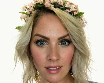 The Jules - Pink Blush Floral Crown Head Wreath