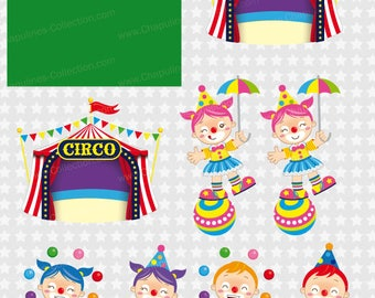Circus clipart, clown, elephant, monkey, lion, balloons, circus tent, 60% off Set 134