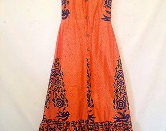 1970s 1980s sundress orange vintage sundress small maxi dress Mexican sundress resort wear tropical beach wear long orange sundress
