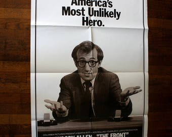 Vintage One Sheet Movie Poster For Woody Allen's The Front. Rare Huge 1970s Movie Poster For The Front Starring Woody Allen.