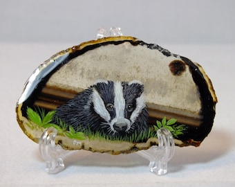 Badger Painting on Agate