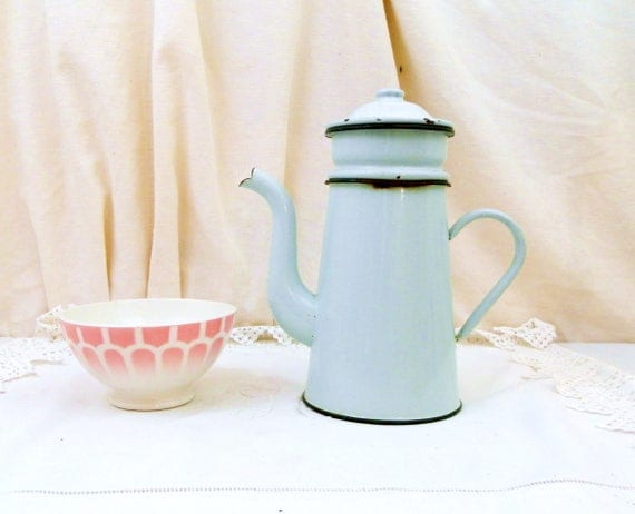 Vintage Mint Green Enamel French 3 Piece Coffee Pot with Goose Neck Spout, Enamelware Pour Over Cafetiere from France, Retro French Country