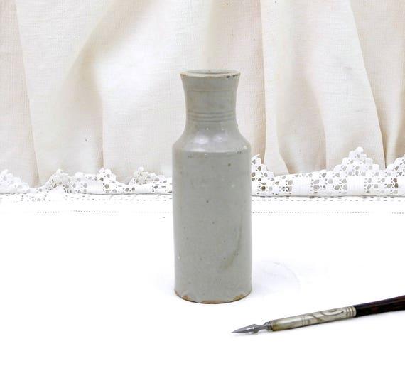 Antique French Stoneware Gray Bottle Once Contained Brillant Belge Fourcault Paris Victorian Metal Polish, Vintage Pottery Ink Bottle, Vase