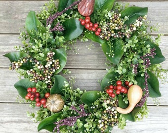 Boxwood Magnolia Wreath, Fall Wreath, Autumn Wreath, Rustic Wreath, Front Door Wreath, Thanksgiving Wreath, Housewarming,  Magnolia Leaves