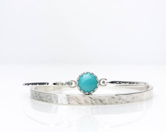Genuine Turquoise Bangle Bracelet / December Birthstone Jewelry Gift for Mom or Wife / Moder Silver and Turquoise Hook Bangle