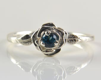 London Blue Topaz Ring in Sterling Silver, Faceted London Blue Topaz Gemstone with flower and leaves, Romantic Dainty Ring, Engagement Ring