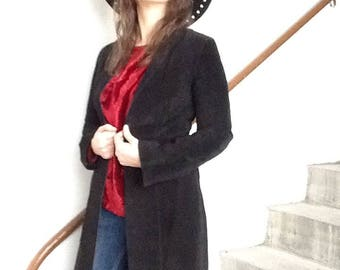 Long suede black coat