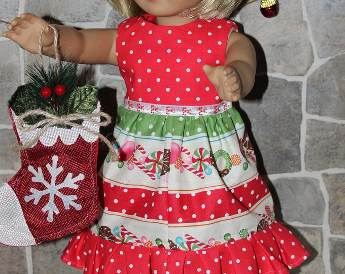 Christmas Print Dress,Ribbon, Sandals made to fit Dolls likes of American Girl,Our Generation and other 18 inch dolls, FREE SHIPPING