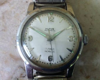 Glycine Altus Watch, Free Shipping, Automatic, White Dial Swiss Watch, 17 Jewels, Antimagnetic, Stainless Steel, Vintage Men's, Works Great