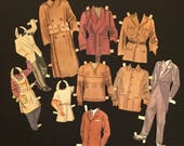 Small Group 1940s Men Paper Doll Clothes Only, Man Male Boy Odds Ends Menswear World War II Era Vintage 10 Pieces NO DOLLS