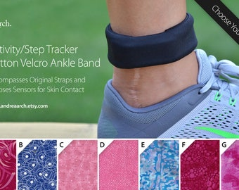 Organic Pattern Print Activity/Step Tracker 100% Cotton Velcro Ankle Band – Encompasses Original Straps and Exposes Sensors for Skin Contact
