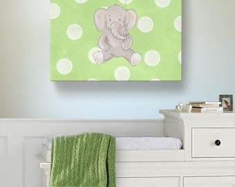 Elephant Nursery Wall Art Baby Girl Nursery Decor, Pink and Gray Canvas Art ,Baby Shower Gift