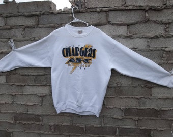 Vintage Sweatshirt 1990s AFC Chargers Football Sports Pullover Large Logo Distressed Unisex Chill Comfy Hard To Fin Fans