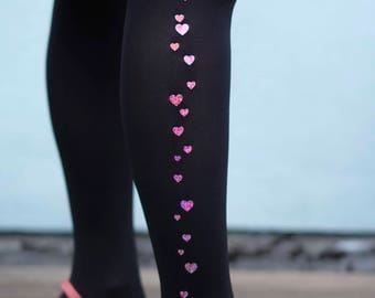 Sparkle Heart Tights - Pink or Red or Gold or Silver
