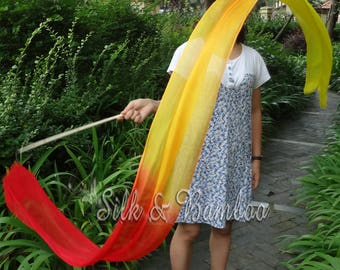 1 pc 2.5m*0.3m Fire silk streamer, for dance or play, real light silk, intercangeable sticks