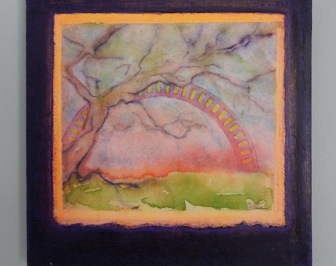 "Small watercolor entitled ""Bridge"""