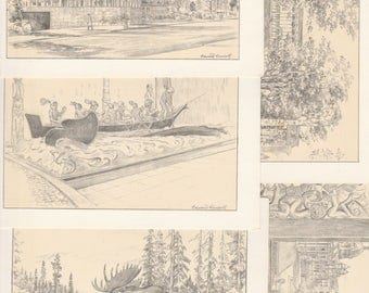 Note Cards from the British Columbia Provincial Museum, Box of 9 cards,  Pen and Ink drawings by Edward Geodell