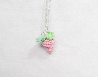 Pastel Strawberry Crochet Necklace
