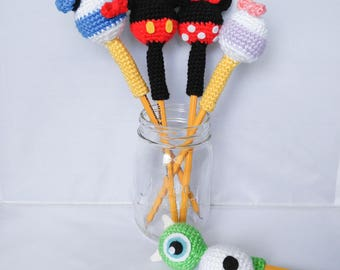 Crochet Pencil Toppers, Disney Inspired Cute Characters, Pen Toppers