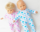 bitty baby clothes, This is for the BLUE boy, white, and grey elephant print flannel pajamas, pjs sleeper, handmade by adorabledolldesigns
