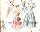Advance 6712 Vintage 1950s Sylvia Franklin Designer Surplice Midriff Evening Dress Sewing Pattern