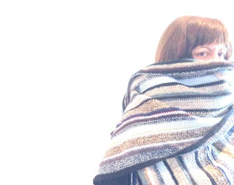 Extra wide extra long unisex stripe handmade crochet multi color shawl scarf wrap / Eve Damon