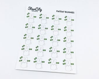 Payday stickers, Bunny Payday stickers, Pay day stickers, planner stickers, adulting stickers, hand drawn stickers, Finance stickers