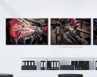 Harley-Davidson art/Vintage boys room decor/motorcycle decor/gift for him biker hog/Large wall art/set of 3 prints/Garage decor/dad gift