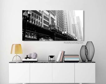 Chicago Loop black and white/Chicago home decor/Chicago wall art/Chicago decor/Chicago art/boys room decor/Chicago print large canvas art