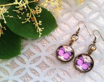 Purple butterfly charm earrings - butterfly jewelry - glass covered butterfly earrings - artistic earrings - romantic butterfly jewelry