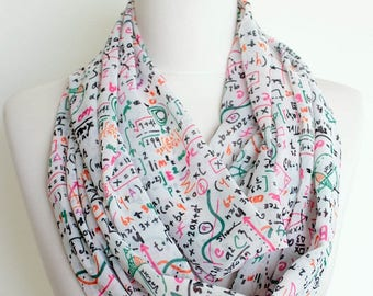 Mathematics Pattern Scarf Infinity Scarf Fall Fashion Geek Item Teacher Woman Gift For Her Girlfriend Birthday Book Scarf Christmas Gift