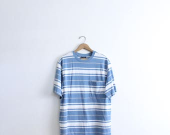 Basic Blue Striped Pocket Tee