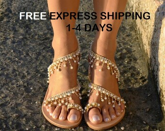 Wedding sandals, Bridal sandals, Gold sandals, Luxury sandals, Wedding shoes, Pearl sandals, Boho chic sandals, Handmade sandals 'Clarise'