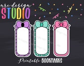 Printable Bookmarks, Planner Die Cuts, Planner Bookmarks, Page Marker, Bows, Journal, Notebook, Planner Accessories