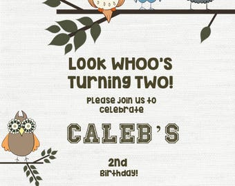 Look WHOOs Turning Two Boy Birthday Invitation Digital File ONLY