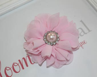 Large Chiffon Light Pink Flower Clip with Pearl Button