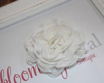 Ivory Lace Chiffon Flower Clip