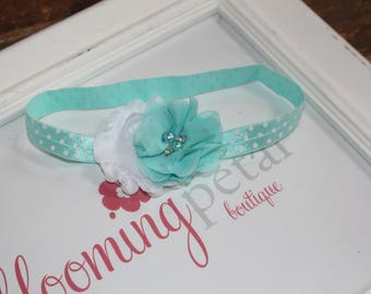 Aqua and White Polkadot Shabby Chic Newborn Infant Flower Headband