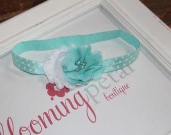 Aqua and White Polkadot Shabby Chic Newborn Infant Flower Headband