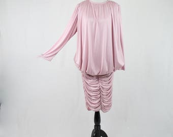 1980s Duty Pink Blouson Top Curtain Gathered Skirt Jersey Knit Dress