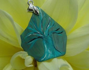 One-of-a-Kind OOAK Hand Painted Upcycled Tumbled Glass Tree Pendant