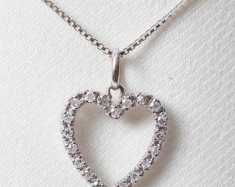 Sparkling Diamond Heart Pendant in 18K White Gold