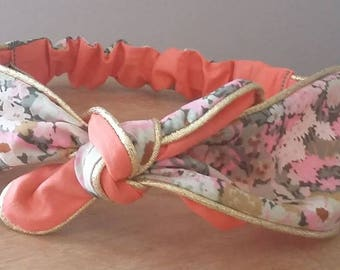 Fashionable headband for baby girl and MOM liberty and coral knot headband reversible retro gold