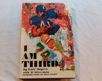 """Vintage Football Hardcover, """"I Am Third"""" by Gale Sayers, Introduction by Bill Cosby, 1972."""