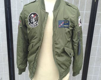 Fitted Bomber Jacket; Green Flight Jacket, Top Gun Pilot Coat, The Expanse